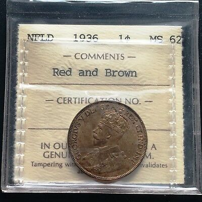 1936 Newfoundland Large Cent Coin ***ICCS Graded MS-62, R&B*** OLD ICCS HOLDER