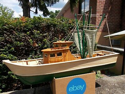 """Hand Built Wood Fishing Trawler, Not A Kit, 28+"""", Amazing 1000+ Hour Build!"""