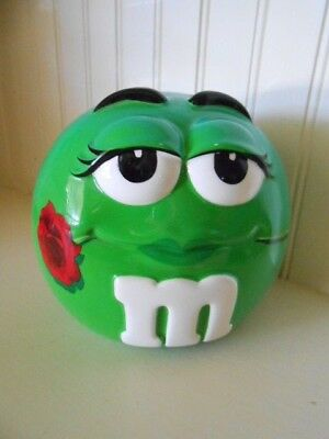 Vintage 2 Piece M&M CANDY JAR Green Girl with Red Rose Eyelashes Galerie