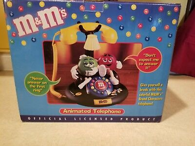 NOS Red & Green M&M's Characters Animated Talking Light Up Telephone Phone