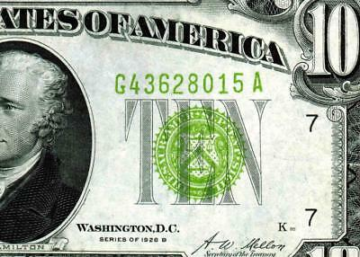 $10 1928B Vivid Green (( LIGHT GREEN SEAL ))  FRN ** MORE CURRENCY FOR SALE **