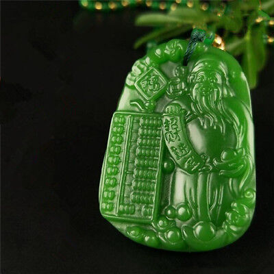 100% Natural jade China Green jade Jasper pendant Necklace Amulet Lucky 招财进宝