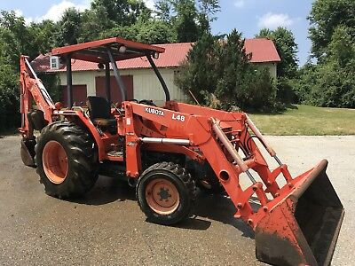 Kubota L48 4X4 Compact Tractor Loader Backhoe 48Hp Diesel Hydro 1166Hrs
