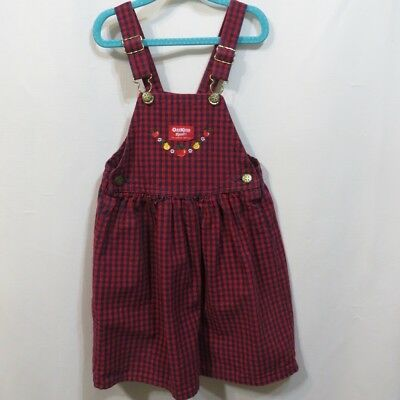 Vtg 80s Pinafore Osh Kosh Girls Gingham Check Bib Skirt Dress Cotton Coverall