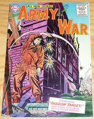 Our Army At War #42 FN- january 1956 - silver age dc comics - grenade shoot-out
