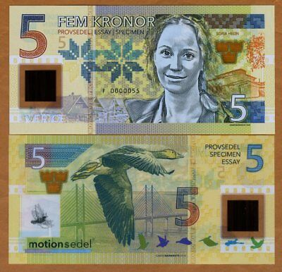Sweden, 5 Kronor, 2017, Private Issue Clear Window Polymer, Sofia Helin
