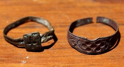 2 Medieval Middle Ages Bronze Ring Lot 1 With A CROSS From Latvia Excavation