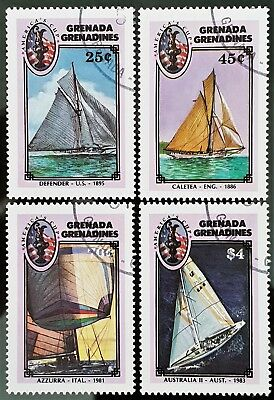 Grenada Grenadines 1987 Sc # 862 to Sc # 865 Sailing Mini Sheet Mint CTO Stamps