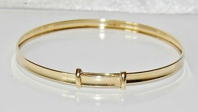 NEW Solid 9ct Gold Expanding Baby Bangle - UK Hallmarked