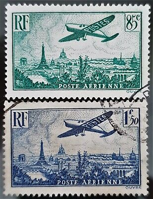 France 1936 Sc # C8 and Sc # C9 Airmail Air Post Used Stamps