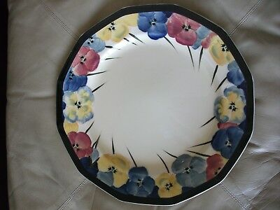 "Royal Doulton Pansy / Pansies Art Deco Style 10"" dinner plate - VGC D4049"