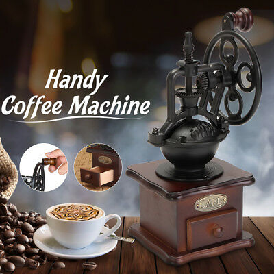 Vintage Hand Coffee Bean Grinder Manual Grinding Machine Wooden Retro Burr Mill