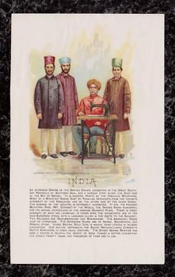 1892 Men India Employees Singer Sewing Machine Co Victorian Trade Card 7.25x4.5