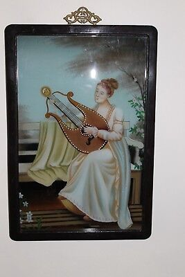 A vintage Chinese reverse painted picture  portrait on glass.