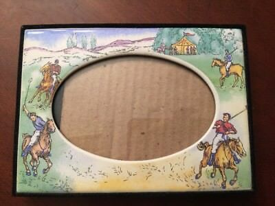 """HORSE EQUESTRIAN Ceramic Photo PICTURE FRAME 5-1/2""""x7"""" out 3""""x5"""" in POLO NICE 1"""