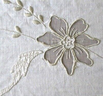 "antique Madeira linen banquet tablecloth 117x65"" w organdy insets+embroidery exc"