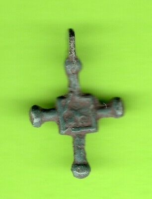 Russia Kiev type Bronze Cross Pendant Viking time 10-12th ca 1100 AD RARE 851