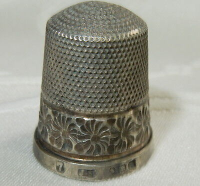 1911 ANTIQUE SEWING THIMBLE - STERLING SILVER By JAMES SWANN Size 7