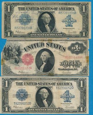 2-$1.00 1923 Silver Certificate + $1.00 1917 Red Seal Legal Tender  Imperfect