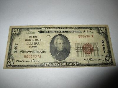 $20 1929 Tampa Florida FL National Currency Bank Note Bill Ch. #3497 Fine RARE