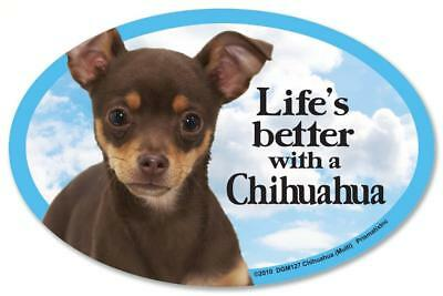 Life's Better With A Chihuahua Dog Car Fridge Plastic Magnet Brown Multi