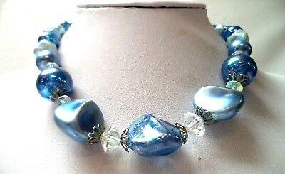 "Stunning Vintage Estate Blue Beaded Faux Pearl 18"" Necklace!!! 1217F"