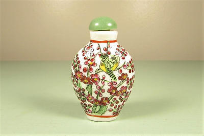Chinese Painted Bird Snuff Bottle - Vintage Asian Porcelain Nephrite Jade