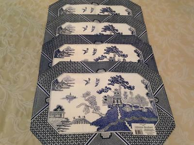 Vintage, Johnson Bros 4-pc Blue Willow Placemats 13in x 8.5in (2 sets Available)