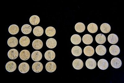 """LOT OF 32 SHELL OIL Coins  """"FAMOUS FACTS & FACES"""" & """"STATES of the UNION"""""""