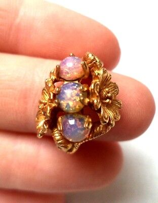 Stunning Vintage Estate Signed Avon Flower Leaf Sz 6 Ring!!! 1218X