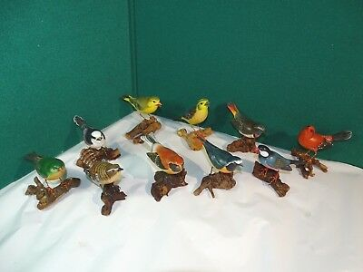 Lot of 10 Handmade Painted Wood Carved Bird Sitting on Branch Statue Figure