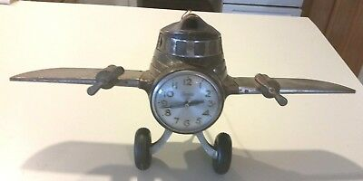 Antique Sessions Aviation Airplane Clock Walnut Chrome Master Crafters Parts NR