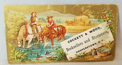 Late 1800's Trade Card Cockett & Wood from Cooperstown NY 2 of 2 Horses NO Res