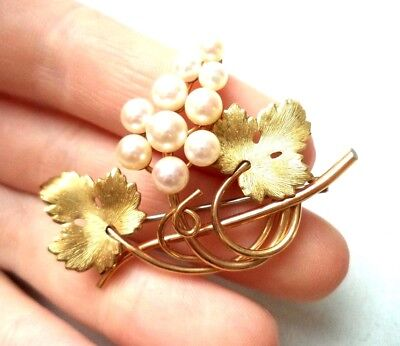 "Stunning Vintage Estate Signed Krementz Genuine Pearl 1 1/2"" Brooch!!! 1218K"