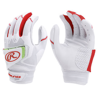 Rawlings Workhorse Pro Womens Fastpitch Softball Batting Gloves White/Scarlet M