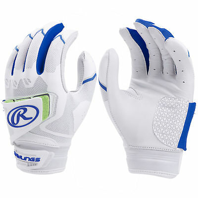 Rawlings Workhorse Pro Women's Fastpitch Softball Batting Gloves, White/Royal, L