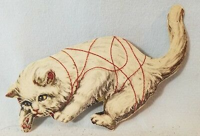 Late 1800's Trade Card Corticelli Silk Thread Die Cut Kitten NO Reserve