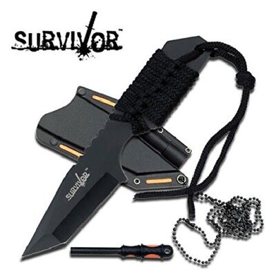 M4282 Survival Fixed Blade Neck Knife Fire Starter Stainless Full Tang  + Sheath