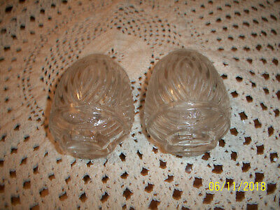 Vintage Pair clear Glass Bird Cage Feeders Seed Water Cup Rib Band Pattern USA