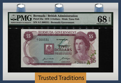 "TT PK 24a 1970 BERMUDA 5 DOLLARS ""QUEEN ELIZABETH II"" PMG 68 PPQ FINEST KNOWN!"
