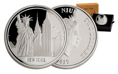 2017 Niue Great Cities New York 1oz .999 Silver Proof $2 Coin Low Mint Free Ship