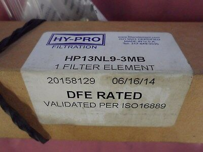 """New HY-PRO HP13NL9-3MB Filter Element / """"Lot of 2"""""""