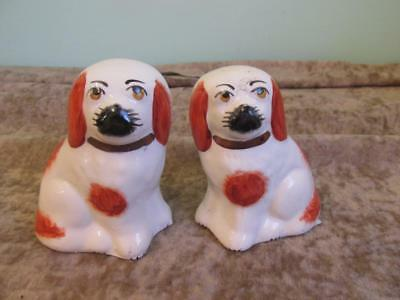 "Pair of antique Staffordshire Ware Wally dogs. 3.5"" tall. Good condition"