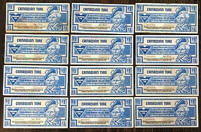 Lot of 12x 1991 Canadian Tire $1 Dollar Notes ***Great Condition***