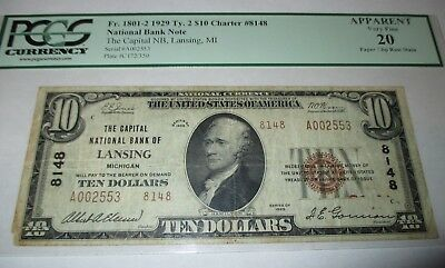 $10 1929 Lansing Michigan MI National Currency Bank Note Bill Ch. #8148 VF!