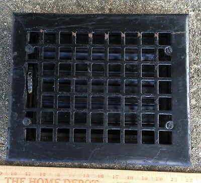 ANTIQUE CAST IRON VICTORIAN FLOOR WALL GRATE HEAT VENT REGISTER LOUVERS 8x10