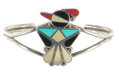 Vintage Sterling Zuni Coral Turquoise  MOP Inlay Thunderbird Small Cuff Bracelet