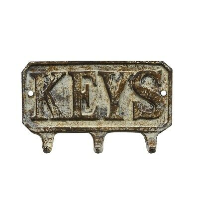 Metal Antique Wall Mount Keys Hook Hat/Coat/Key Ring/Leash 3 Storage Hooks Rack