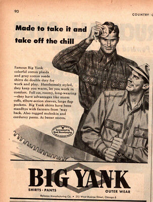 1947 Country Gentleman Magazine Ad Big Yank Outer Wear 1 Page AD A450