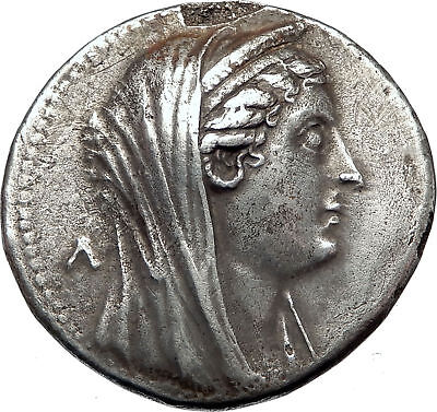 Queen ARSINOE II, sister-wife of King PTOLEMY II 261BC Egypt,Silver Decadrachm
